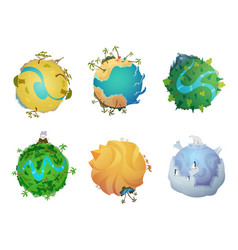 Cartoon planet earth visualization different vector