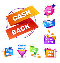 Cash back service isolated icons shopping sale or vector