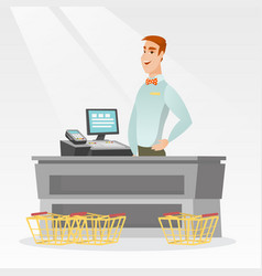 Cashier standing at the checkout in a supermarket vector