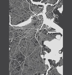 City map boston monochrome detailed plan vector