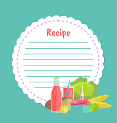 Clean note page empty cookbook with food vector