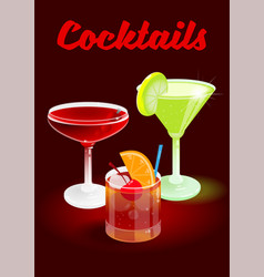 cocktails poster party vector image