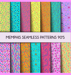 collection seamless pattern fashion 80s 90s vector image