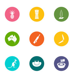 colonisation icons set flat style vector image