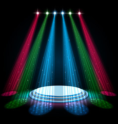 Colorful glow spotlights with white podium vector