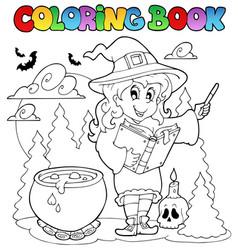 Coloring book halloween character 2 vector