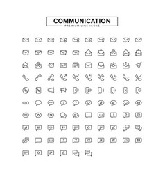 Communication line icon set vector