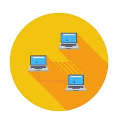 Computer network single icon vector image