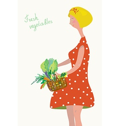 Cute girl with fresh vegetables vector image