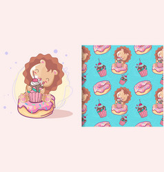 cute lion with cake and pattern set vector image