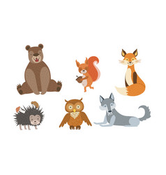 cute wild forest animals set bear squirrel fox vector image