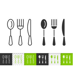 Cutlery simple kitchen ware black line icon vector