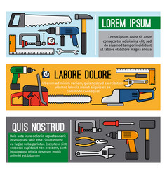 Diy workshop tool banners vector