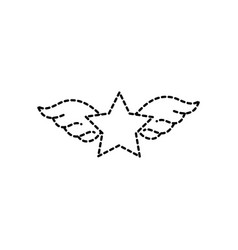 dotted shape star with wings rock symbol art vector image