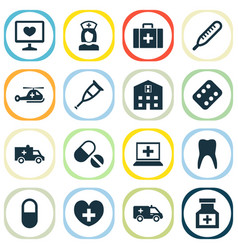 Drug icons set collection of bus retreat vector
