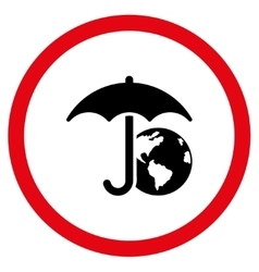 Earth Umbrella Flat Rounded Icon vector image