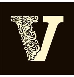 Elegant capital letter V in the style Baroque vector image