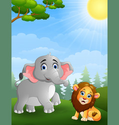 Elephant and lion cartoon in the jungle vector