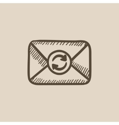 Envelope mail with refresh sign sketch icon vector image