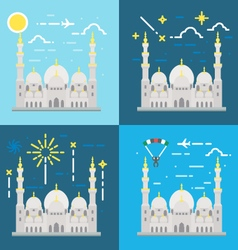 Flat design of Sheikh Zayed grand mosque Abu Dhabi vector image