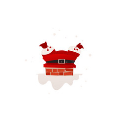 flat santa stuck in the chimney on the roof vector image