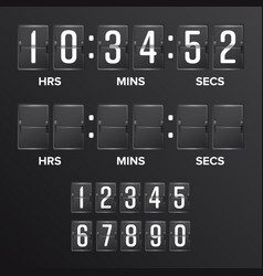 Flip countdown timer analog black vector