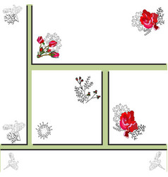 Floral card templates with red rose and sweet pea vector