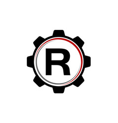 gear solution logo letter r vector image