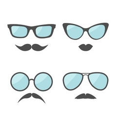 Glasses and mustache lips moustaches face icon set vector
