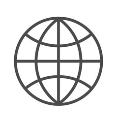 globe outline icon on white background editable vector image