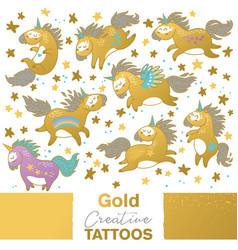 golden set with cartoon unicorns vector image