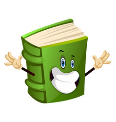 Green book is happy on white background vector