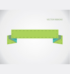 green ribbon banners isolated on gray background vector image