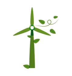 Green silhouette wind power generator with leaves vector