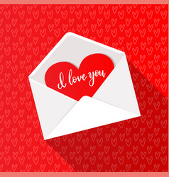 Greeting card with red heart in open white vector