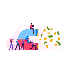 Group business people holding big magnet vector