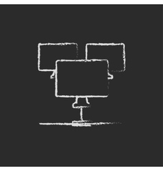 Group of monitors icon drawn in chalk vector image