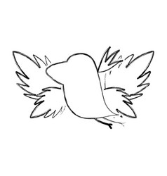 Grunge silhouette bird with exotic leaves reserve vector
