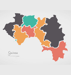 guinea map with states and modern round shapes vector image