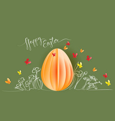 hand drawn flowers with paper egg butterfly vector image