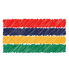hand drawn national flag of mauritius isolated on vector image