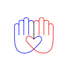 hand with heart line icon sign on white vector image