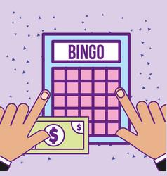 Hands with bingo game and bill money casino vector