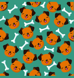 Happy dog face seamless pattern vector