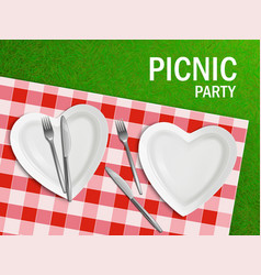 heart shaped plate on tablecloth and green grass vector image