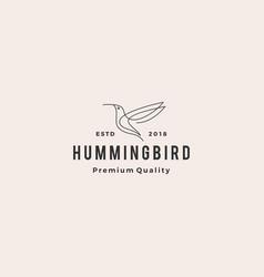 hummingbird colibri bird logo line outline vector image