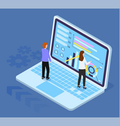 isometric 3d laptop with diagram growing graphics vector image