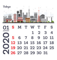 January 2020 calendar template with tokyo city vector
