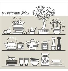Kitchen utensils on shelves 2 vector image