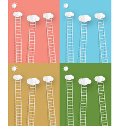 ladders with clouds vector image